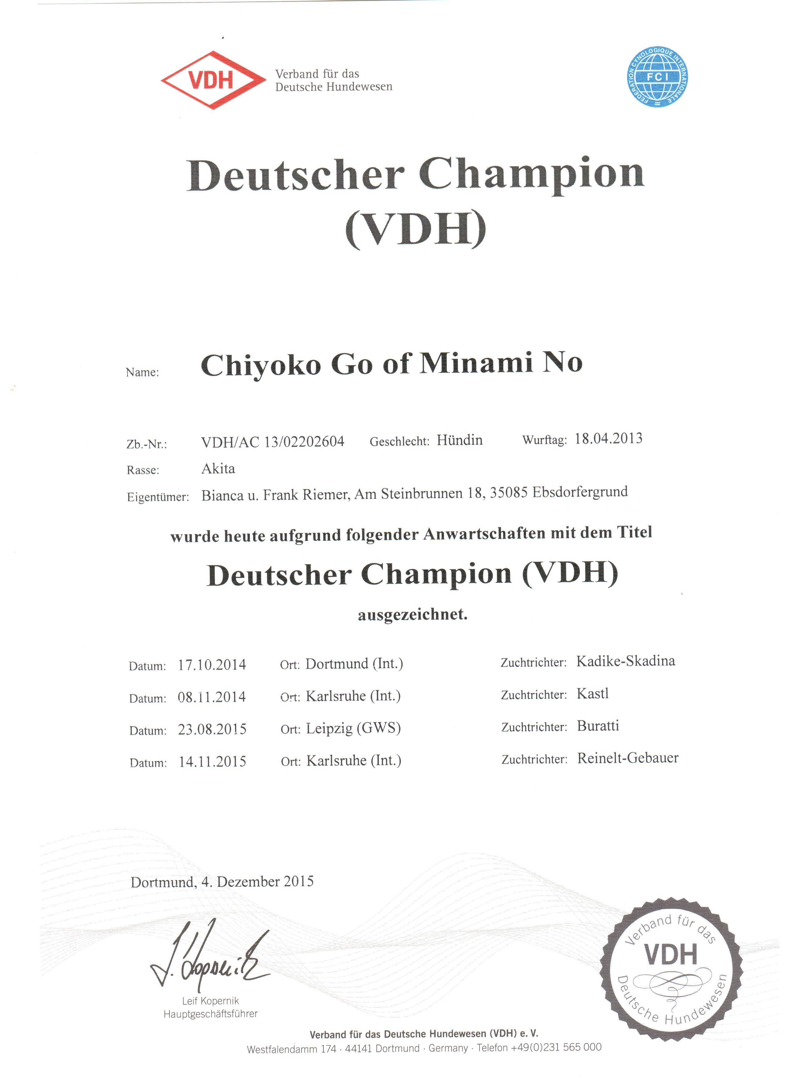 Chiyoko Deutscher Champion 2015