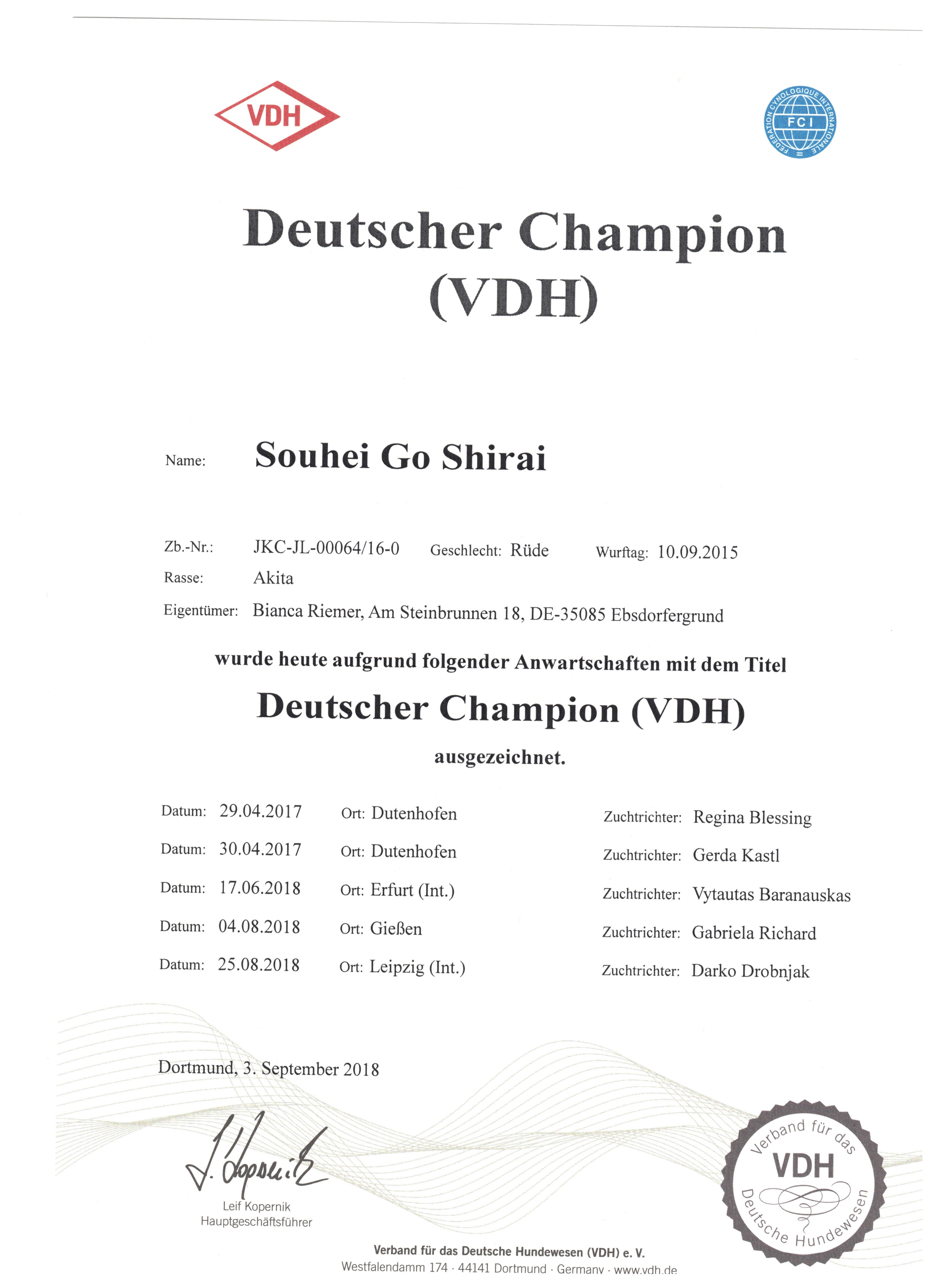 Deutscher Champion 2018